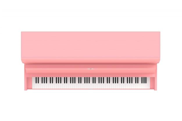 Hoogste mening van klassieke muzikale instrumenten roze piano die op witte achtergrond wordt geïsoleerd Premium Foto