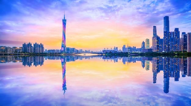 Horizon van stedelijk architecturaal landschap in guangzhou Premium Foto