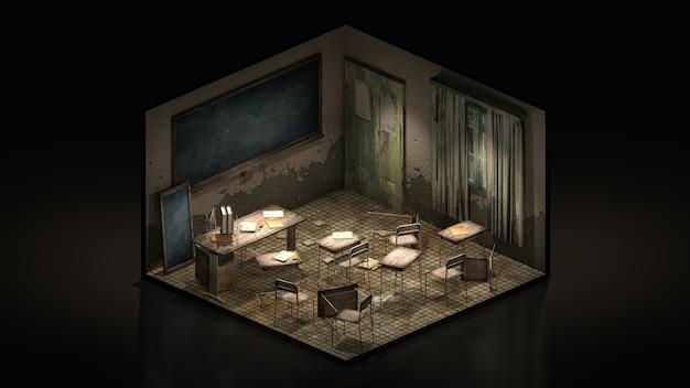 Horror en griezelig klaslokaal in de school, 3d illustratie isomatrisch. Premium Foto