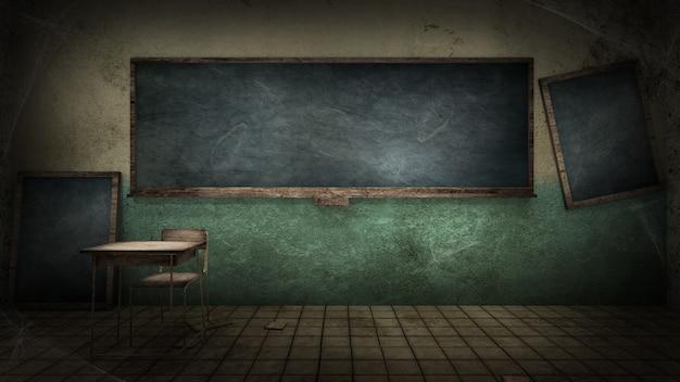 Horror en griezelig klaslokaal in de school 3d-rendering Premium Foto