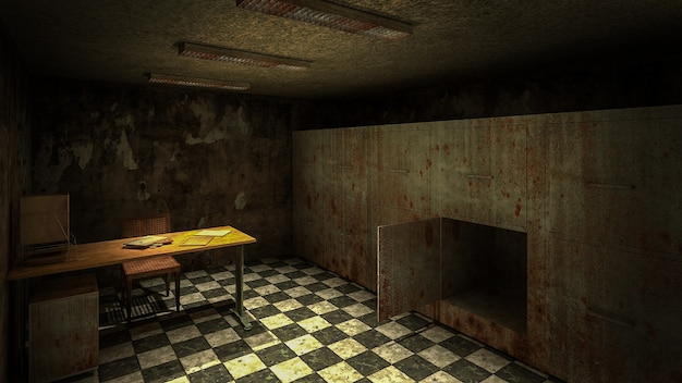 Horror en griezelig mortuarium in het ziekenhuis 3d-rendering Premium Foto