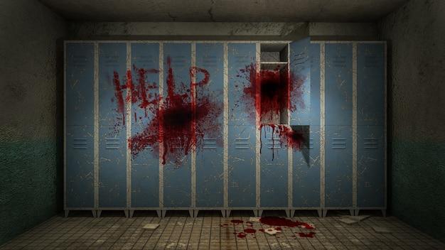 Horror en griezelige kleedkamer in het ziekenhuis met bloed 3d-rendering Premium Foto