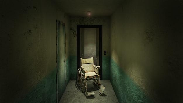 Horror en griezelige lift met rolstoel in het ziekenhuis .3d-rendering Premium Foto