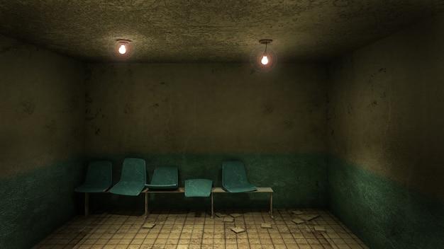 Horror en griezelige stoel te wachten voor de onderzoekskamer in het ziekenhuis 3d-rendering Premium Foto