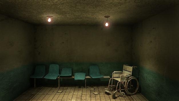 Horror en griezelige stoel wachten en rolstoel voor de onderzoekskamer in het ziekenhuis. Premium Foto