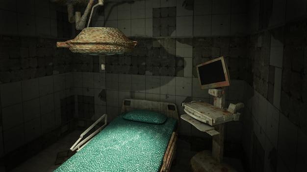 Horror en griezelige verlaten operatiekamer in het ziekenhuis .3d-rendering Premium Foto