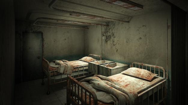 Horror en griezelige wardroom in het ziekenhuis 3d-rendering Premium Foto
