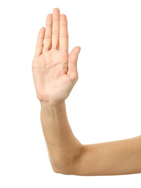 Hou op! vrouwenhand gesturing geïsoleerd op wit Premium Foto