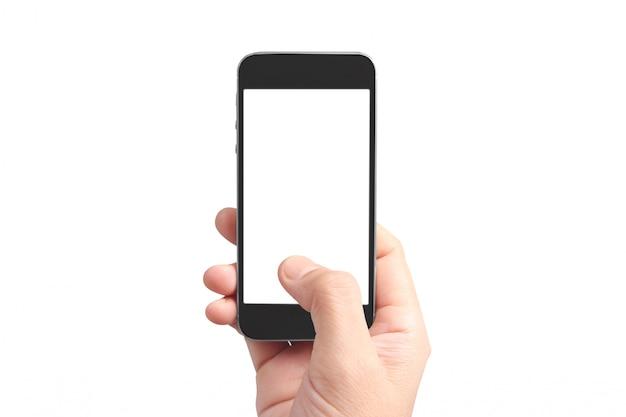 Houd mobiele telefoons, smartphoneapparaten en touchscreen-technologie vast Premium Foto