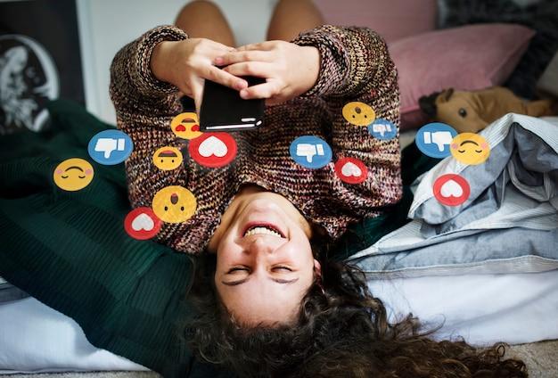 Houdt van op sociale media Premium Foto