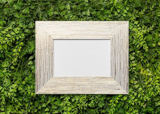 Houten afbeeldingsframe op groen gebladerte Gratis Foto