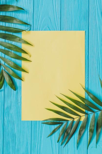 Houten oppervlak met papier en palmbladeren voor de zomer Gratis Foto