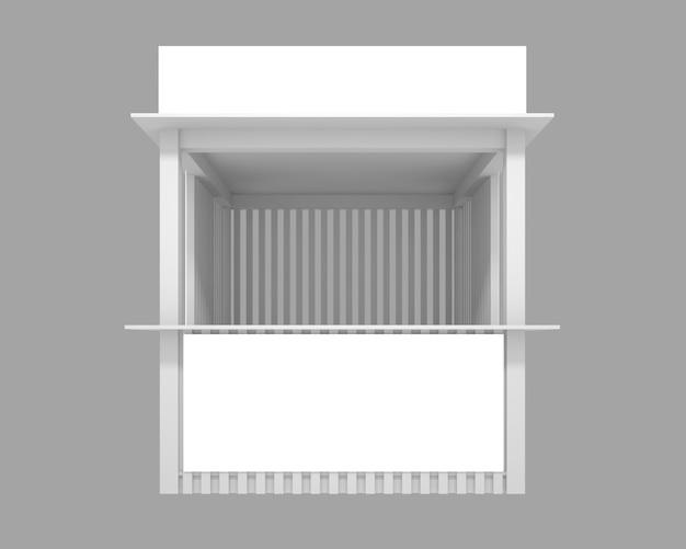 Houten paviljoen met ruimte voor reclame, 3d illustratie Premium Foto