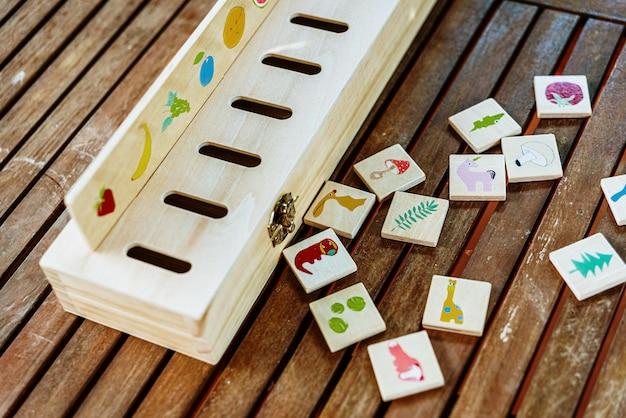 Houten spel om tekeningen te matchen, gebruikt in educatieve alternatieve pedagogieën, zoals de montessori-methode. Premium Foto