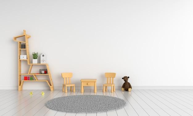 Houten Tafel Met Witte Stoelen.Houten Tafel En Stoel In Witte Kinderkamer Voor Mockup Foto