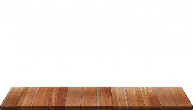 Houten tafel geïsoleerd op wit Premium Foto