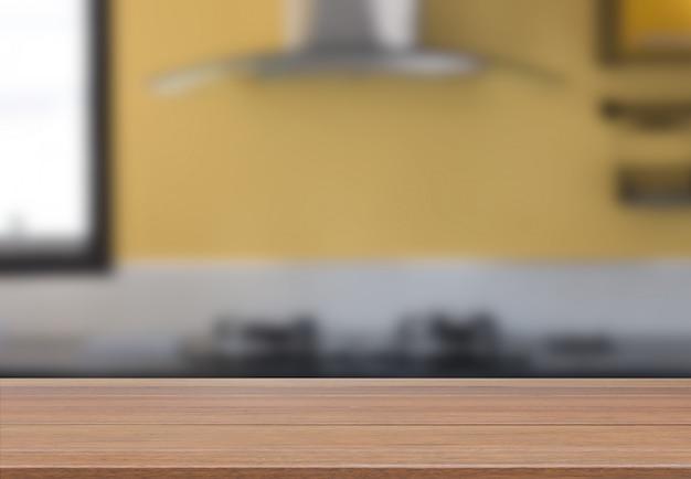 Houten tafelblad met moderne gele keuken kamer interieur Premium Foto