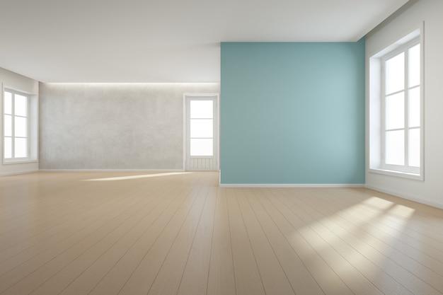 Houten vloer met blauwe betonnen muur in grote kamer in modern nieuw huis voor grote familie. Premium Foto