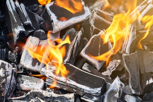 Houtskool in brand voor een barbecue op een picknick. Premium Foto
