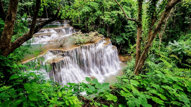 Huay mae kamin-waterval bij het nationale park van khuean srinagarindra kanchanaburipurince Premium Foto