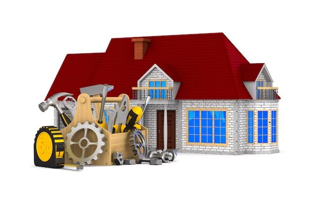 Huis en hulpmiddelen op wit. geïsoleerde 3d-afbeelding Premium Foto