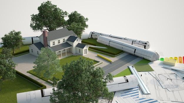Huisarchitectuur en landschapsmodel met blauwdrukken, energie-efficiëntiekaarten Premium Foto