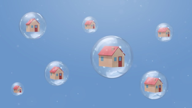 Huizen in bellen. quarantaine concept. abstracte illustratie, 3d-rendering. Premium Foto