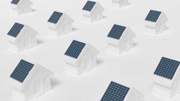 Huizen met zonnepaneel op het dak. Premium Foto