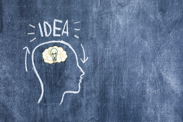 Ideetekst over de hersenen in het getrokken overzichtsgezicht op bord Gratis Foto