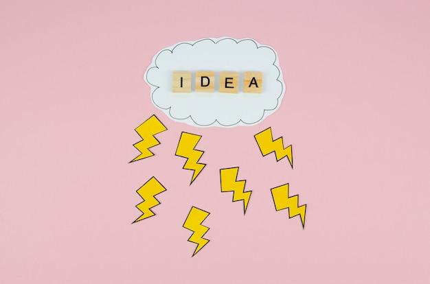 Ideewoord in een wolk op roze achtergrond Gratis Foto