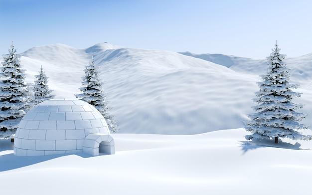 Iglo en pijnboombos in snowfield met sneeuwberg, noordpoollandschapsscène, het 3d teruggeven Premium Foto