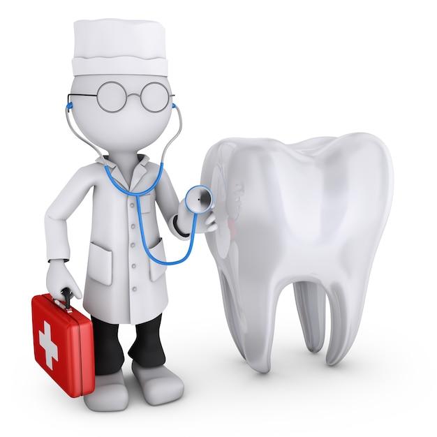 Illustratie van arts naast de tand op wit Premium Foto