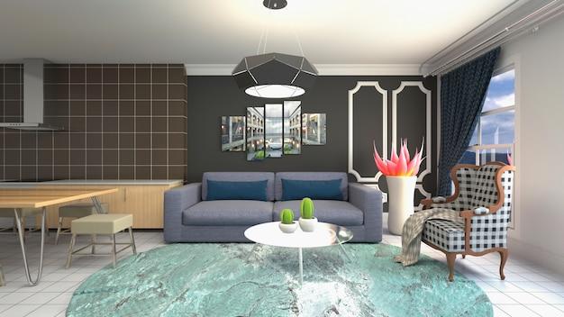 Illustratie van de woonkamer interieur Premium Foto