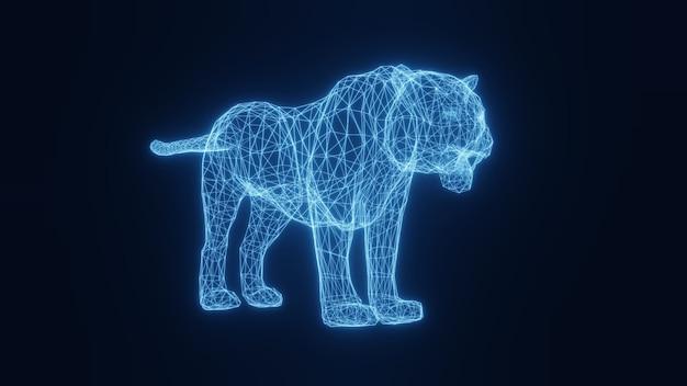 Illustratie van een blauwe neon gloeiende tijger uit een driedimensionaal raster. 3d-weergave. Premium Foto