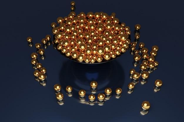 Illustratie van een grote plaat met gouden ballen die in verschillende richtingen vliegen Premium Foto