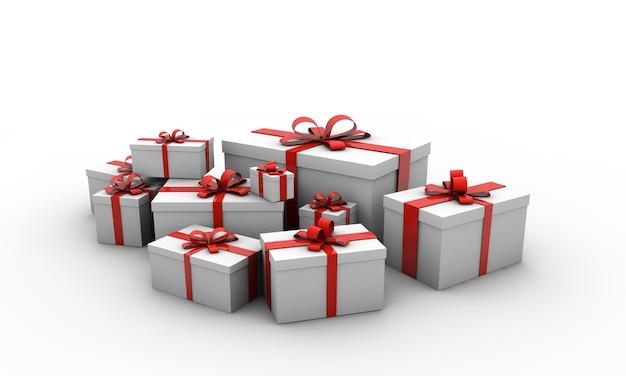 Illustratie van geschenkdozen met rode bogen geïsoleerd op een witte achtergrond Gratis Foto