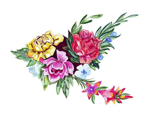 Illustratieschets van een groot boeket van bloemen die in waterverf worden geschilderd Premium Foto