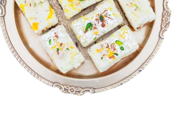 Indiase diwali sweet food kalakand Premium Foto