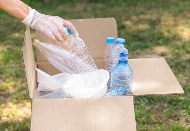 Individuele recycling plastic flessen Gratis Foto