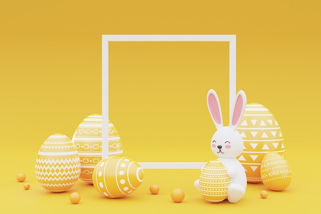 Ingericht konijntje en paaseieren met frame op gele achtergrond. concept van de paasvakantie. 3d-rendering. Premium Foto