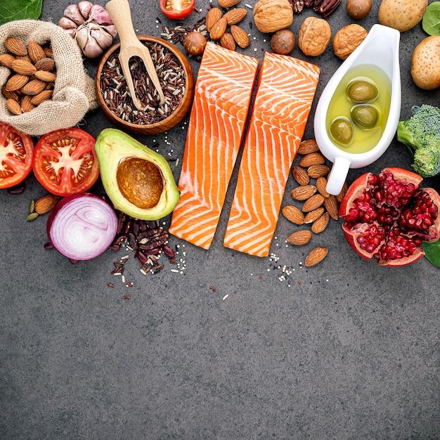 Ingrediënten voor de selectie van gezonde voedingsmiddelen. Premium Foto