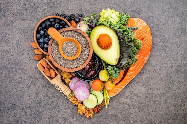Ingrediënten voor gezonde voedingsselectie. Premium Foto