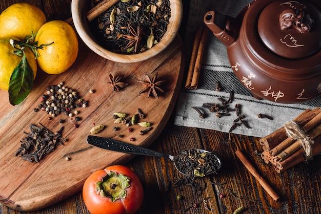 Ingrediënten voor masala chai Premium Foto