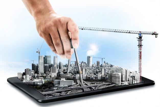 Innovatief architectuur- en civieltechnisch plan Premium Foto
