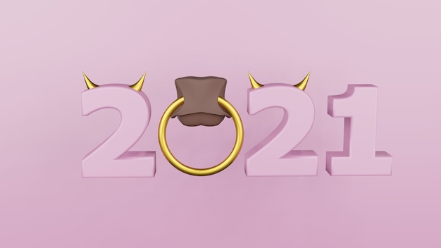 Inscriptie 2021 geïsoleerd op een witte achtergrond. gelukkig nieuwjaar 2021. illustratie voor reclame. 3d-weergave. Premium Foto