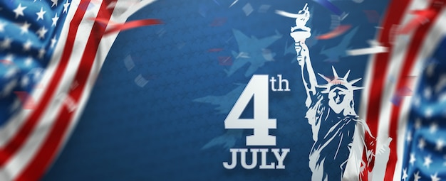 Inscriptie 4 juli op een blauwe achtergrond Premium Foto