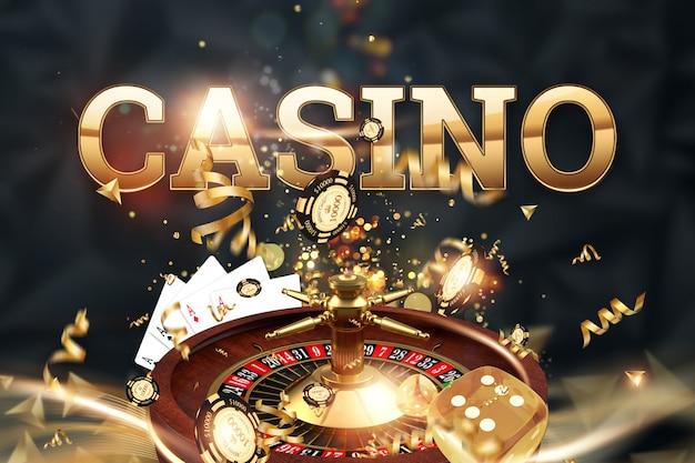 Inscriptie casino, roulette, gokken dobbelstenen, kaarten, casino chips op een groene achtergrond. Premium Foto