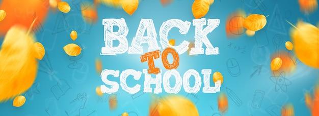 Inscriptie terug naar school, elementen van het onderwijs. flyer, poster te koop Premium Foto