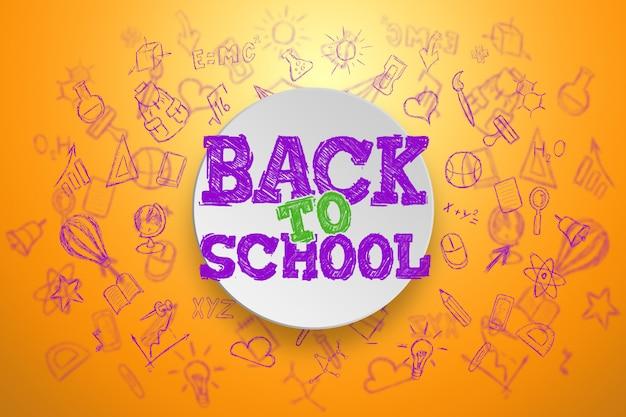 Inscriptie terug naar school, elementen van het onderwijs Premium Foto