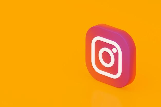 Instagram applicatie logo 3d-rendering op gele achtergrond Premium Foto